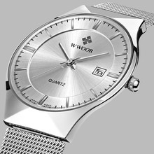 Top Brand Luxury WWOOR Mens Watches Stainless Steel Band Analog Display Quartz Wrist Watch Ultra Thin Dial Fashion Dress Watch