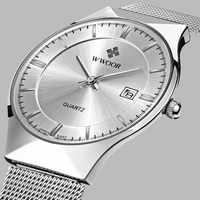 Top Brand Luxury WWOOR Men's Watches Stainless Steel Band Analog Display Quartz Wrist Watch Ultra Thin Dial Fashion Dress Watch