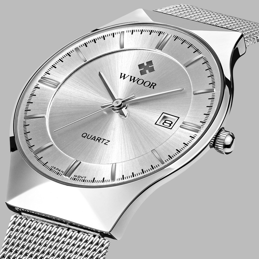 Top Brand Luxury WWOOR Men's Watches Stainless Steel Band Analog Display Quartz Wrist Watch Ultra Thin Dial Fashion Dress Watch
