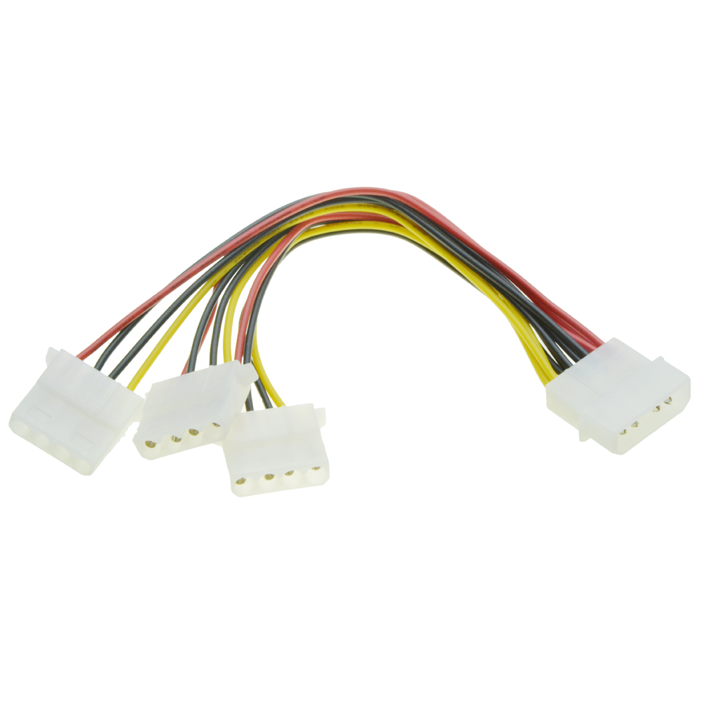 IDE 4 PIN Molex Male Power to 3 x Female Splitter Adapter Extension Cable 20cm