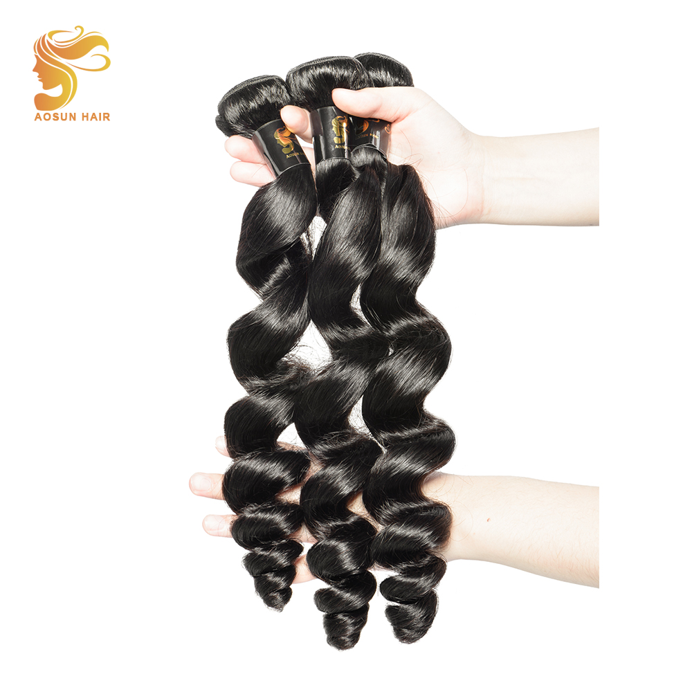 AOSUN HAIR Peruvian Loose Wave 3 bundles 100% Remy Human Hair Weave Extensions 8-28 inch Natural Color Free Shipping