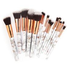 15 Marble Makeup Brushes Kit Premium Cosmetic For Powder Liquid Cream Foundation