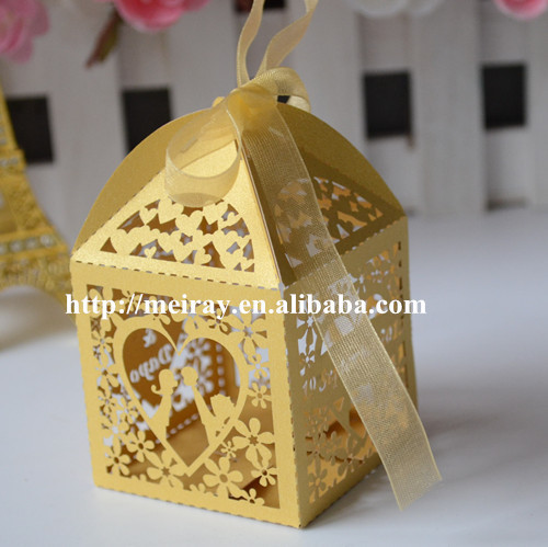 Gold indian wedding favor boxes,laser cut muslim gift box,romantic ...