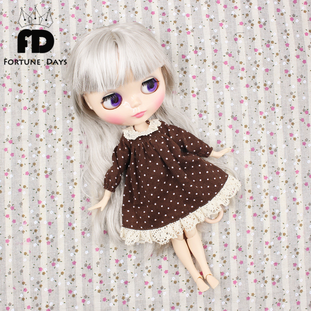 Free shipping suitable joint Doll Lovely polka dot dress lace