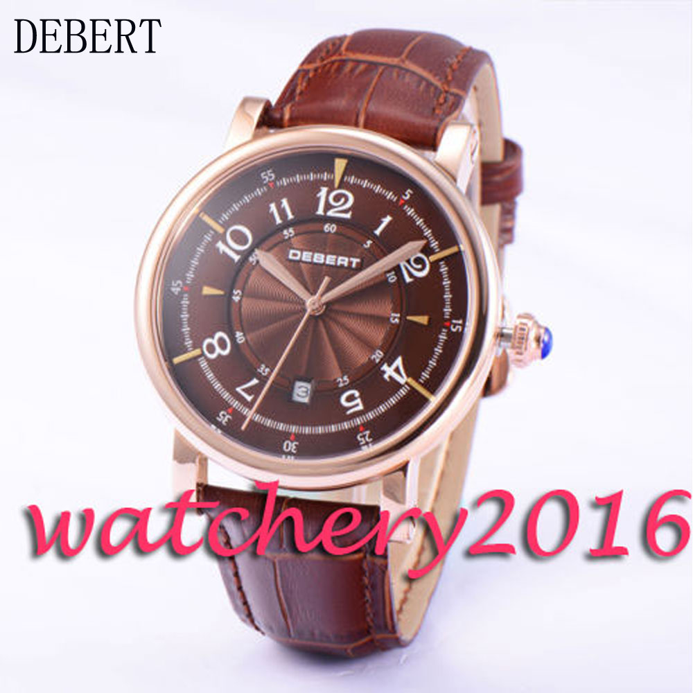 Luxury 43mm Debert rose golden case coffee dial 21 jewels miyota 8215 Automatic men's Watch 36mm debert golden dial 21 jewels miyota automatic diamond mens watch d11