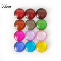 BoYuTe 100Pcs Colorful Round 8MM 10MM 12MM Cabochon Glass Flatback Diy Hand Made   Jewelry     Findings     Components