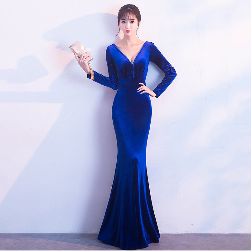D066 winter v neck long sleeve floor length royal blue long dress
