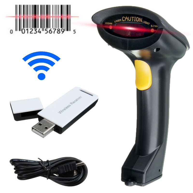Portable Laser Wireless Barcode Scanner Handheld Scanner 2 ...