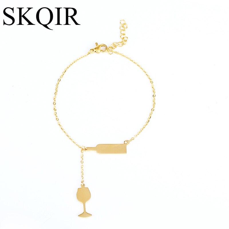 Skqir oro vino de color pulsera y brazalete de acero inoxidable ...