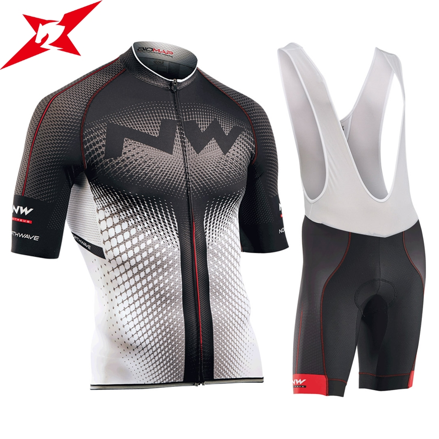 2017 NW New Short Sleeves Pro Team Cycling Jerseys Set with Bib Pants Quick Dry Breathable Ropa Maillot Ciclismo 9D Gel Pad #612