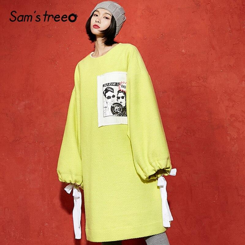 Samstree Winter Women 35 9 Wool Coat Pullover Yellow Appliques Cuff Drawstring Female Woolen Wool Dress