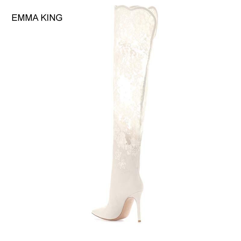 Mujer Rebaño De Por Fiesta Con 2019 As Rodilla Encaje Botas Picture Punta Mujer Encima La En Tacones Zapatos Estrecha Moda Iq8n5