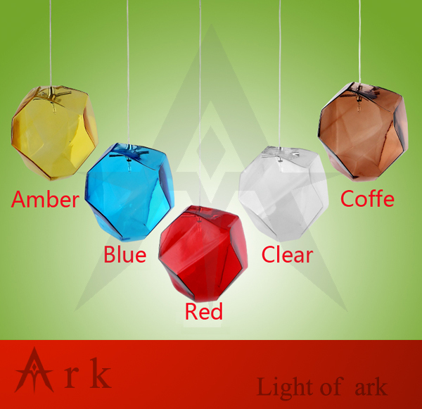 ФОТО ark light AC96-265V 1 pcs Crystal glass lighting ice cube pendant lamp polygon glass stone colorful pendant light