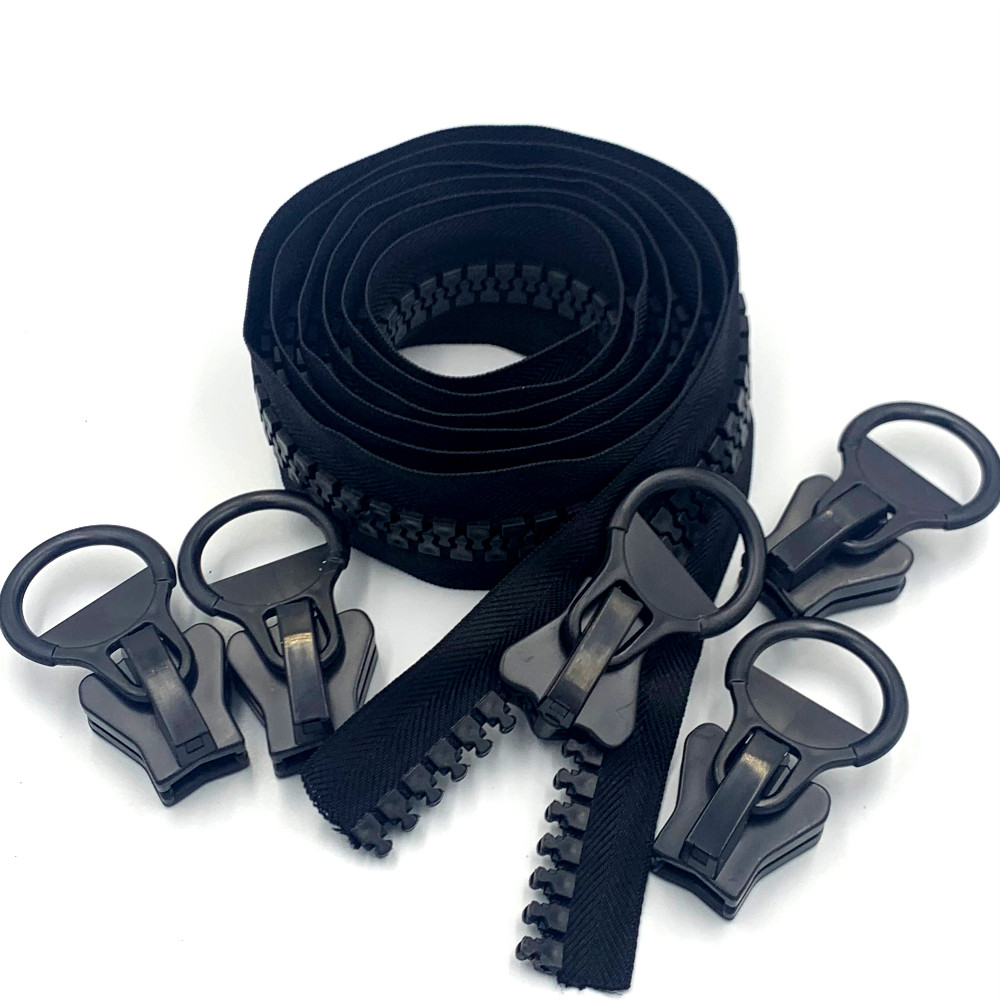 20# Super Large Plastic Resin Zipper, Bulk 2 Yards, with 5pcs Sliders for Sewing Crafts Bags Tents Boat Cover Canvas