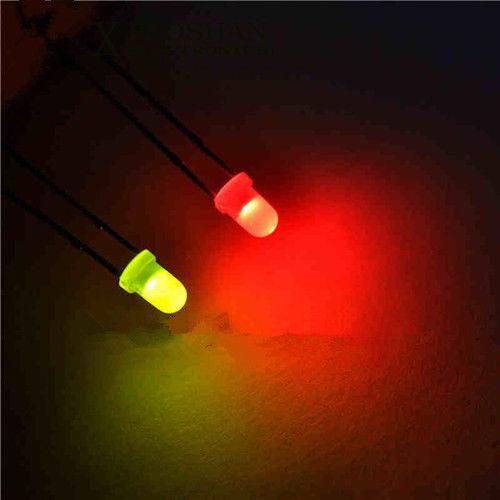 50pcs 3mm Dual Bi Color Polar Changing Red//Blue Led Diffused Leds Free Resistors