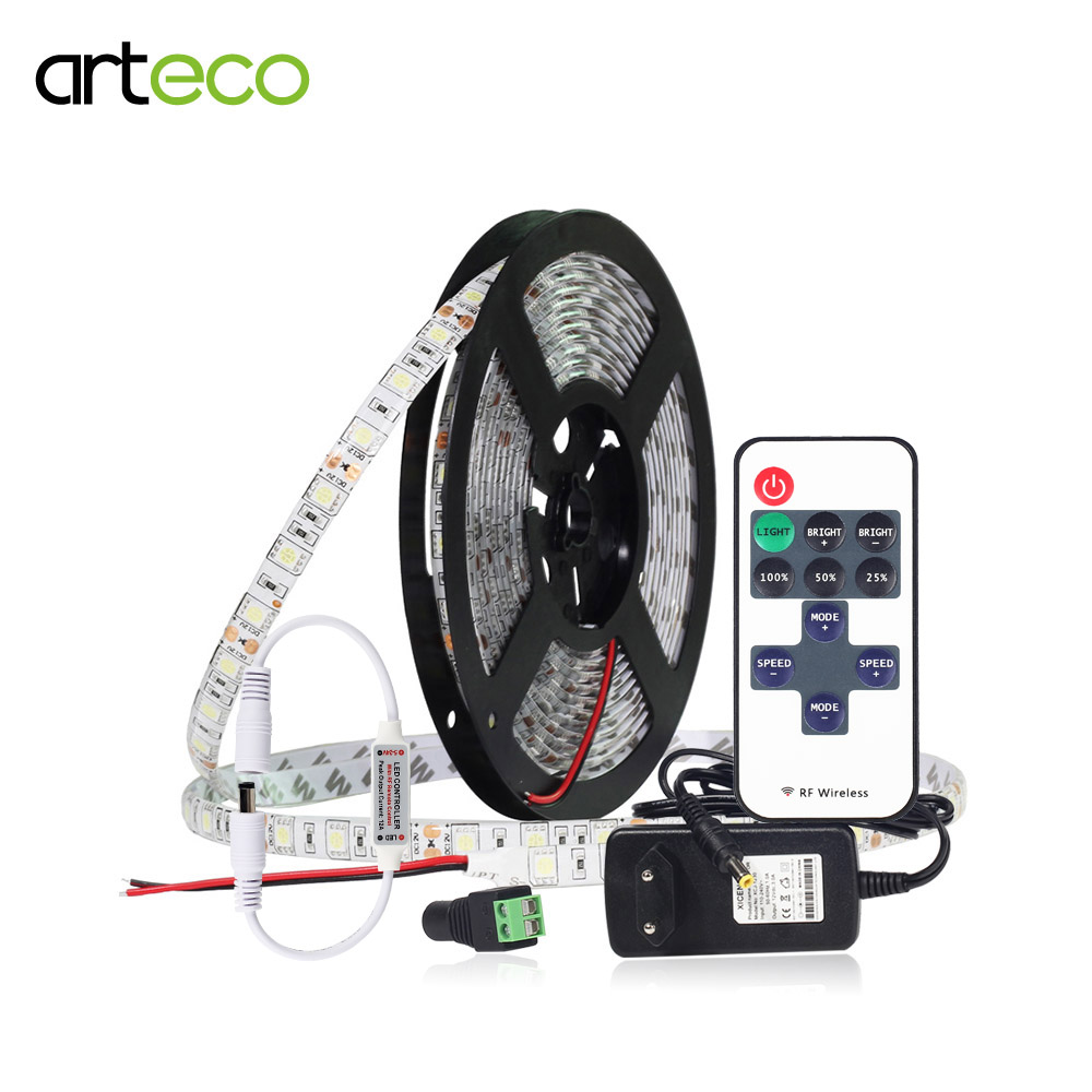 5050 Led Strip Dimmable Set LED Ribbon Tape Flexible Lamp 5m 300leds With 11Key Remote Controller And Power Adapter 12V Led Tape crane embroidery ribbon tape detail jacket