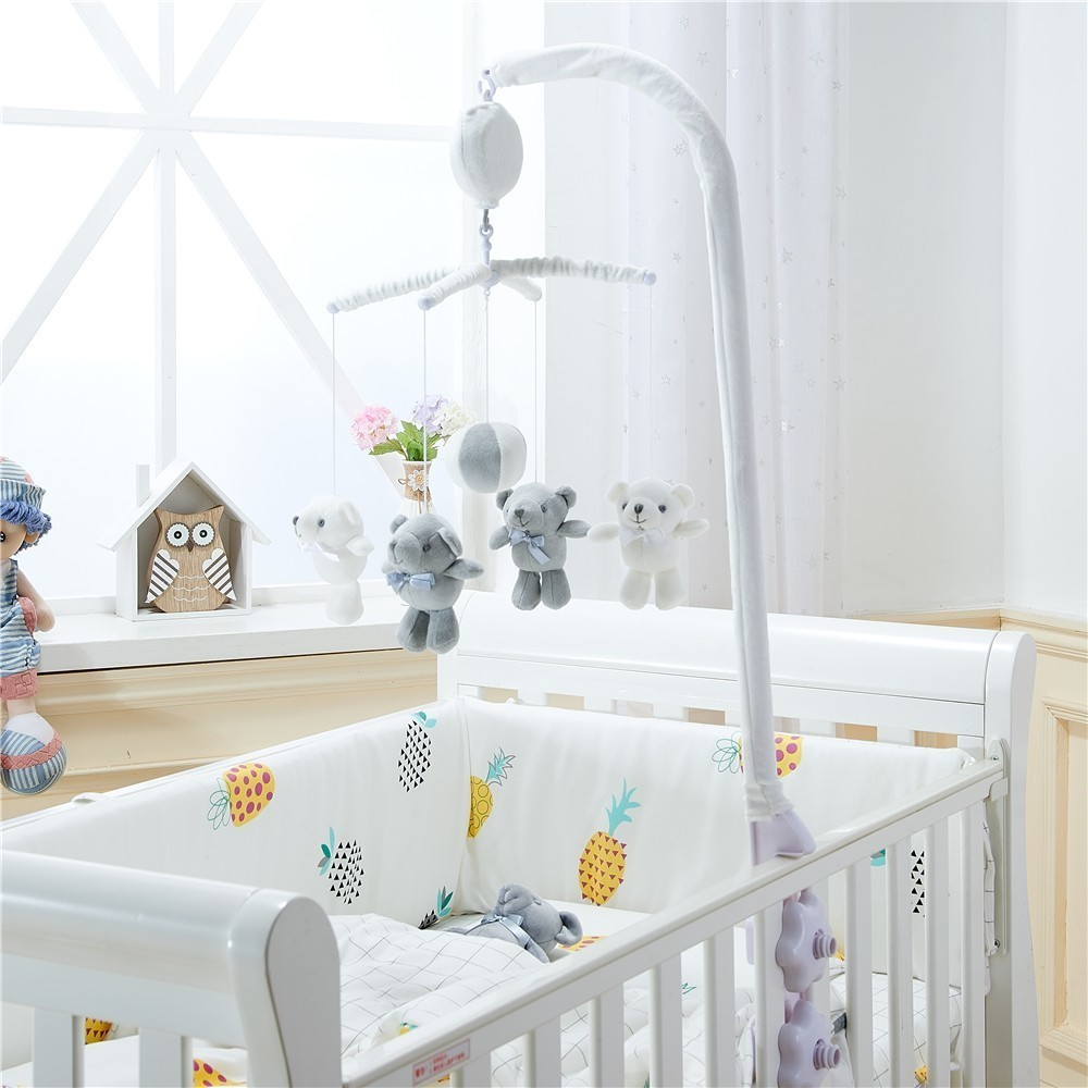 Bear Toy And Baby Crib Holder Rattles Baby Toys 0-12 Months Bed Bell Toy With Bracket Music Mobile Toys For Children