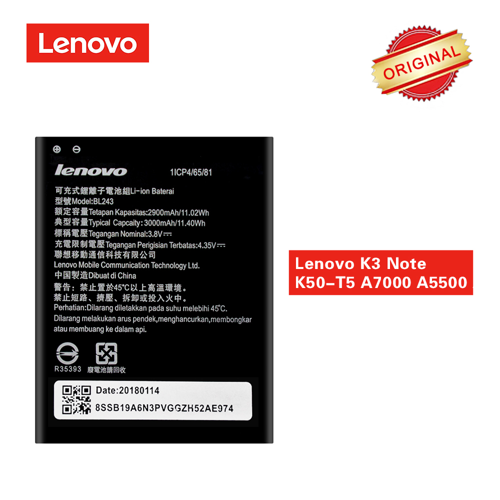 Lenovo Battery For Replacement Note K50-T5 K3 BL243 Original 3000mah A7000 A5500 A7600-M