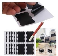 2016 New Easy 96x Small Chalk Black board Mason Jar Labels Stickers Chalkboard Hot Decor+1 White Liquid Marker