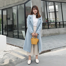 Authentic Thick Fashion Casual Long Fat mm Large Size Women's 2018 Winter New Tie Woolen Coat Coat Woven Solid Color 2019 woolen winter large size dress sweet pure color large size fat mm dress