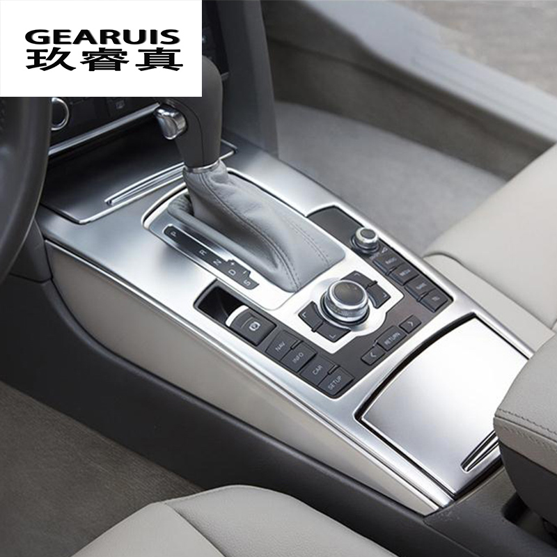 Car Styling Water Cup Holder Cover Sticker Gear Shift Control Panel Metal Frame Trim For Audi A6 C5 C6 Auto Interior Accessories