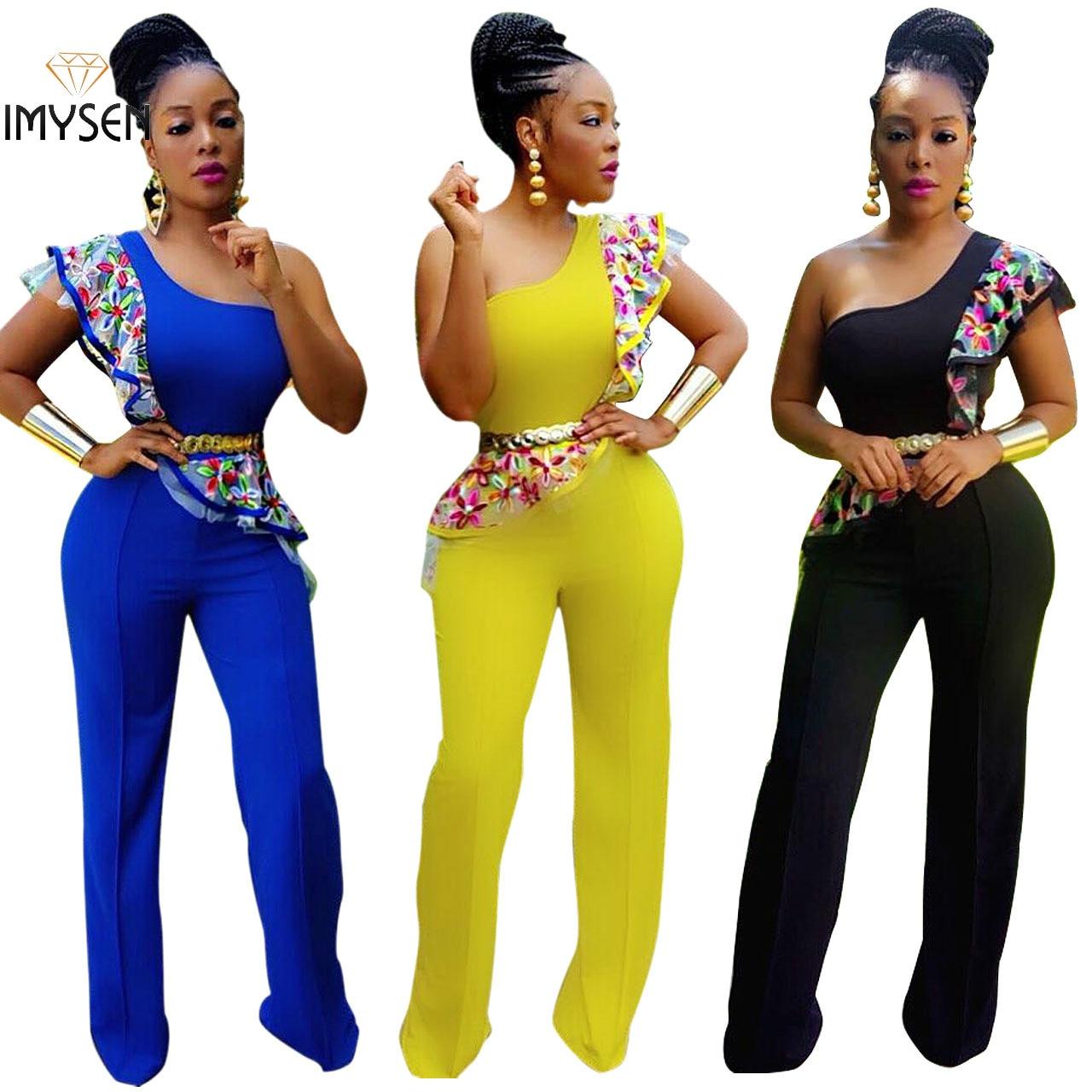 Imysen лето-осень длинный комбинезон Для женщин Sexy цветочные Вышивка Кружево комбинезон на одно плечо цвет желтый, синий; размеры 34–43 черный К...