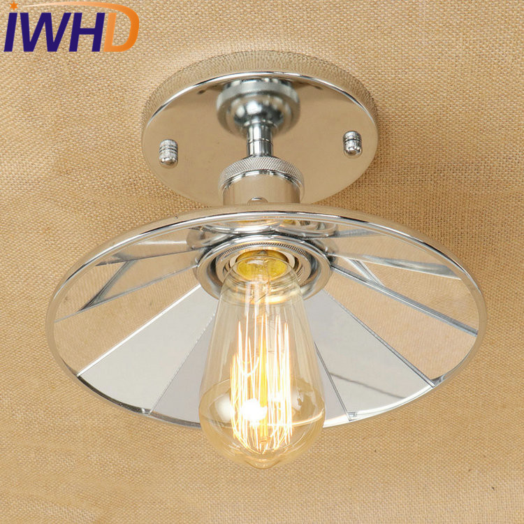 IWHD American Loft Mirror Glass Vintage Ceiling Light Fixtures Edison Industrial Ceiling Lamp Hallway Dining Room Antique lamps nordic american edison bulb loft industrial glass stone point ceiling lamp vintage pendant lights cafe bar dining room light
