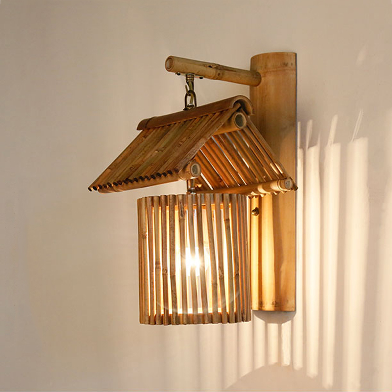 Chinese sytle Hand made bamboo light retro wall lamp for aisle corridor restaurant cafe bar hotel porch light sconce bra in LED Indoor Wall Lamps from Lights Lighting