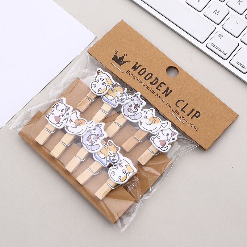 10 Pcs/Set Adorable Cat Kitten Daily Life Wooden Clip Photo Clips Party Decoration Clip With Hemp Rope