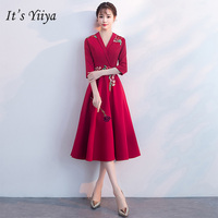 f6620a61228d1 It S YiiYa Evening Dress Embroidery Flowers Half Sleeves Wine Red Formal  Dresses V Neck Zipper
