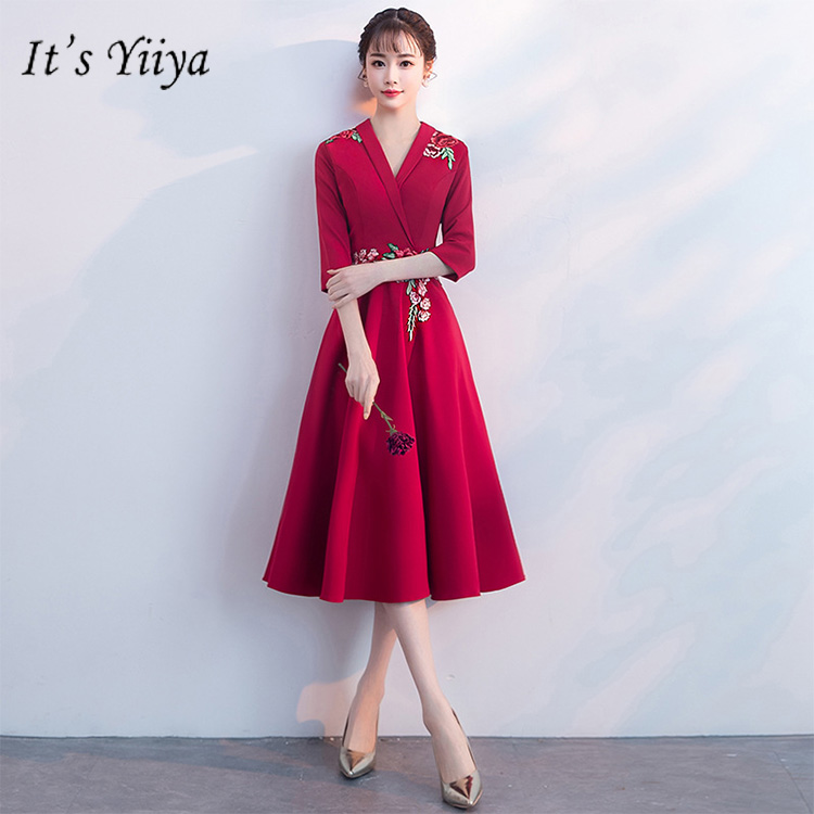 It's YiiYa Evening Dress Embroidery Flowers Half Sleeves Wine Red Formal Dresses V-neck Zipper Tea Length A-line Party Gown E419