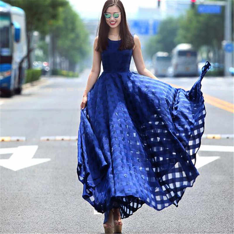 57f321b8248 Для женщин Платья для женщин без рукавов Летние однотонные плед элегантный  6xl 7XL плюс Размеры органза