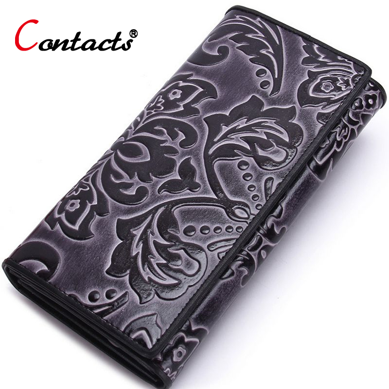 ФОТО CONTACT'S Long Wallet Women Genuine Leather Wallets Card Holder Money Bag Women Clutches Designer Purses Ladies Embossing Wallet