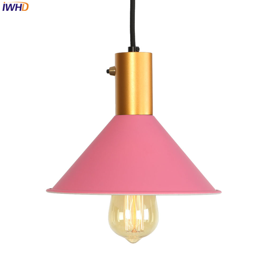 IWHD Loft LED Pendant Lights Nordic Colorful Vintage Industrial Hanglamp Iron Retro Fixtures Home Lighting Luminaire SuspenduIWHD Loft LED Pendant Lights Nordic Colorful Vintage Industrial Hanglamp Iron Retro Fixtures Home Lighting Luminaire Suspendu