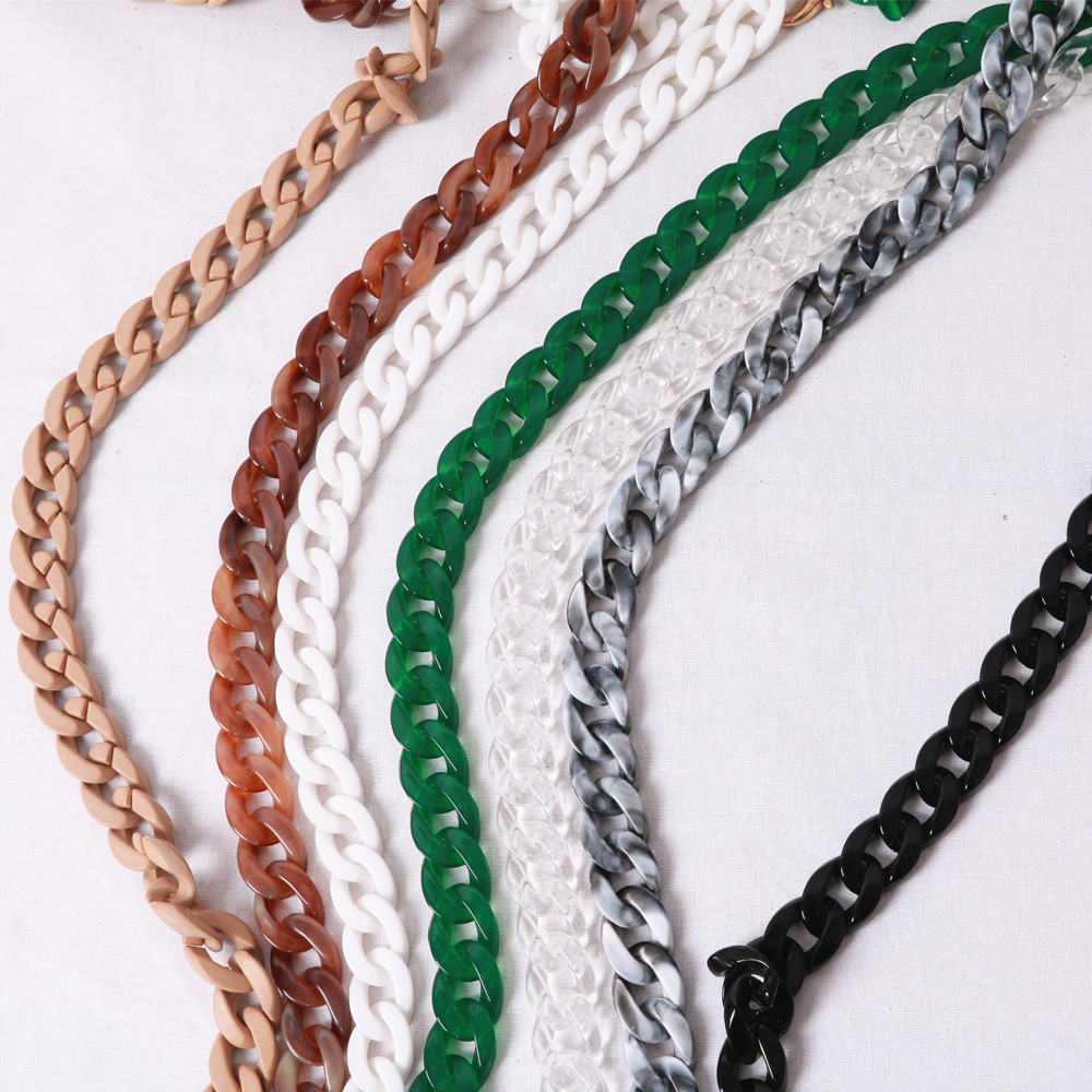 Fashion Colorful Personality Fishbone Acrylic Resin Chain Handbag Bags Plastic Strap Shoulder Bags Accessories For Women