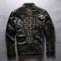 Harley estilo hombres camiseta slim fit chaqueta de la motocicleta de la vendimia con la Cruz Punk biker escudo hombres chaqueta de los hombres reales de cuero negro 2016