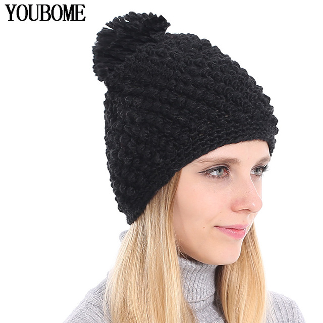 61e7bdfc0c15c YOUBOME Skullies Beanies Hat Women Winter Hats For Women Bonnet Girls Solid  Pom Poms Ball Caps