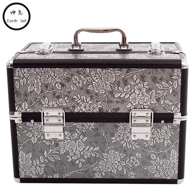 Aluminum alloy Professional Toolbox Suitcase Cosmetic Case,Jewelry Makeup Storage Box Wedding Birthday Gift Travel Luggage Bag black professional makeup cosmetic storage train case box trays aluminum organizer artist hiker draws