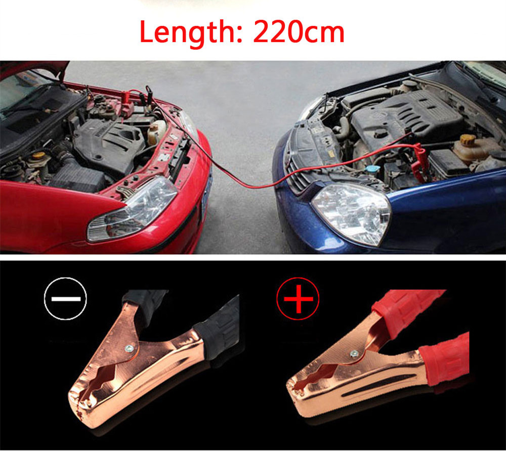 2M 500A Car Battery Power Emergency Cable Jump Start Firing Line Power Wire  Copper Clip Clamp Boost Cord Corriente Bateria Auto