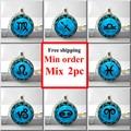 Libra Necklace Cancer Zodiac Sign Jewelry Gemini Blue Moon Scorpio  Scales September October Birthday Astrology Art Pendant