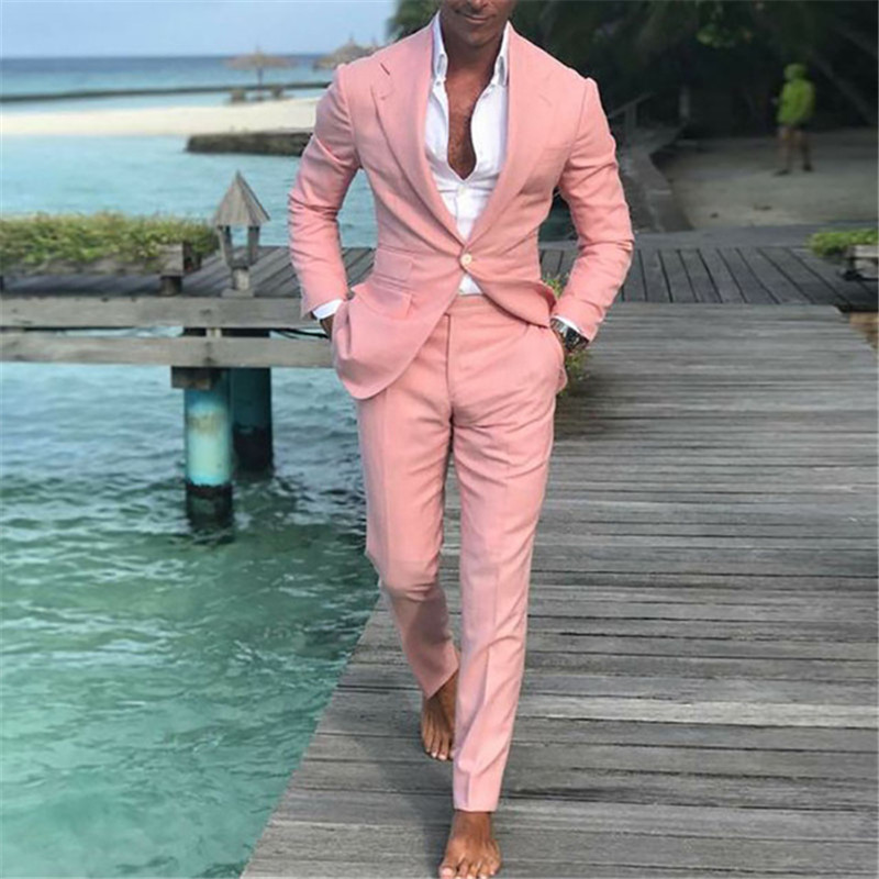 2019 Latest Coat Pants Designs Summer Beach Men Pink Suits For Wedding Masculino Slim Fit Groom Best Mens Male Suit 2 Pieces