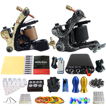 Solong Tattoo Kits 2 Handmade Machine Guns Power Supply Foot Pedal 20 Needles Grip Tip Taty Set TK201-6