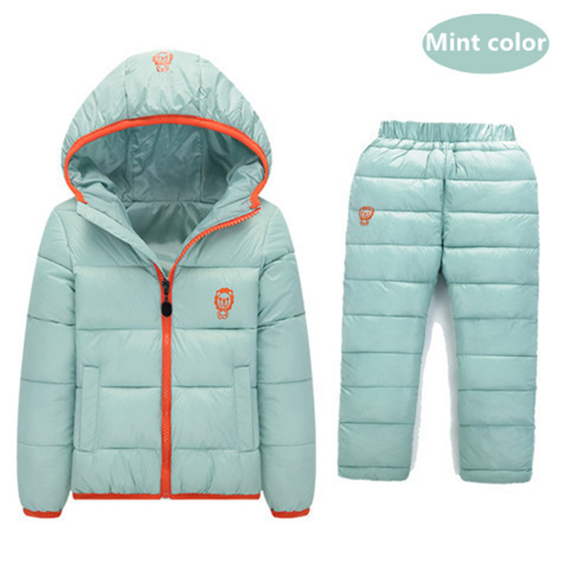 Children Set Boys Girl Clothing Sets Winter 1-7 Year  Down Jacket + Trousers Waterproof Snow Warm kids Clothes Suit 2PC JSB320 2016 winter boys ski suit set children s snowsuit for baby girl snow overalls ntural fur down jackets trousers clothing sets