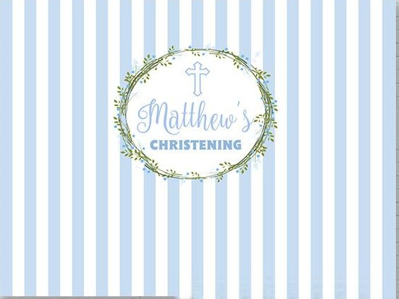 Custom Boy Baptism Christening God Bless Blue And White Striped photo backdrop Computer print party background