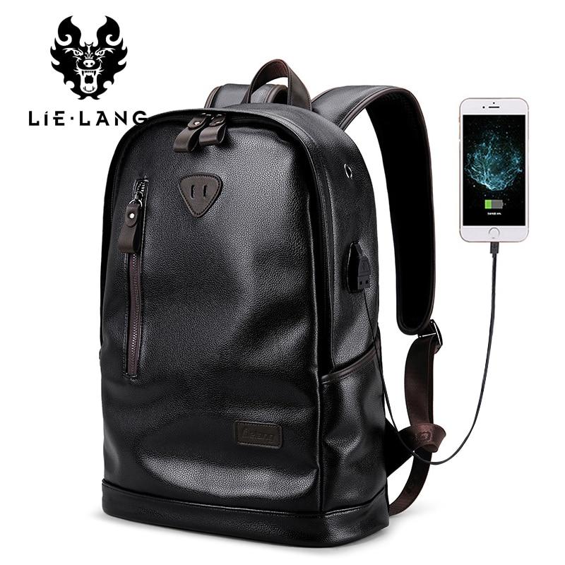 LIELANG Brand Men Backpack Leather Male Functional bags Men Waterproof backpack PU big capacity Men Bag School Bags For Teenager crash bar mt 09