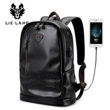 9f7d3cdbf4e1c LIELANG okul çantalarını Erkek Sırt Çantası Deri Erkek Fonksiyonel çanta  Erkekler için Su Geçirmez sırt çantası