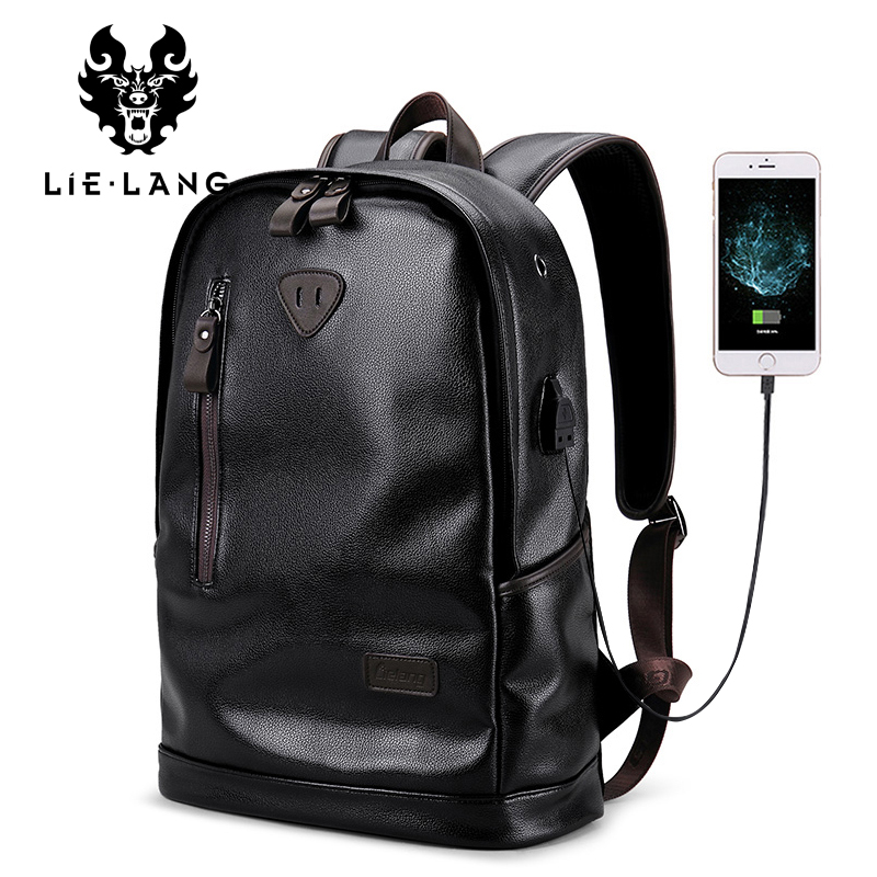 LIELANG Bookbags Men Backpack Leather Male Functional Bags Men Waterproof Backpack PU Big Capacity Men Bag School Bags Mochila