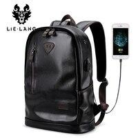 LIELANG bookbags Men Backpack Leather Male Functional bags Men Waterproof backpack PU big capacity Men Bag School Bags mochila
