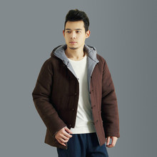 Winter chinese retro men's jacket double – sided casual hooded coat men's thick warm parkas linen cotton jacket Q759