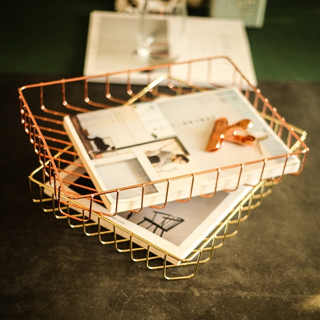 Nordic simple style gold rose gold metal iron desktop collective A4 paper file storage frame hollow storage basket stationary